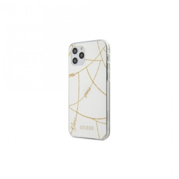 """Guess iPhone 12 Mini 5,4"""" GUHCP12SPCUCHWH biały hard case Gold Chain Collection"""